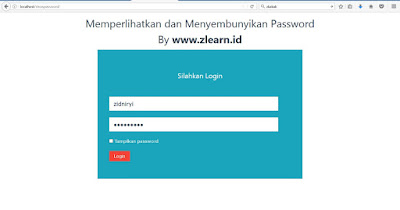 Show Hide Password Form