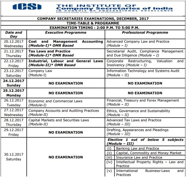 CS Exam Time Table