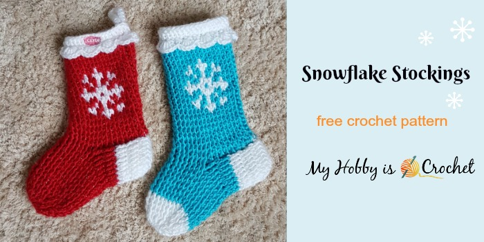 My Hobby Is Crochet Snowflake Christmas Stocking Or Slipper Boots