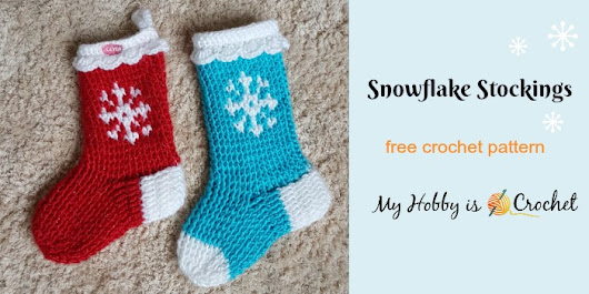 Snowflake Graph Stocking - Free Crochet Pattern with Tutorial