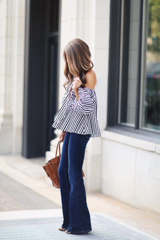 striped top + flared denim