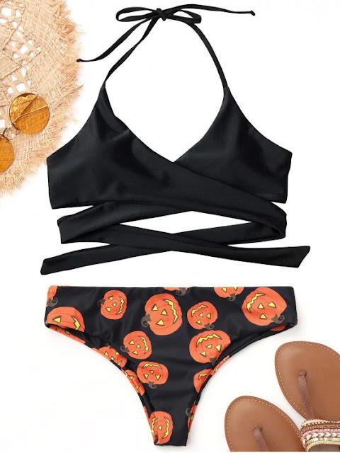 Halter Halloween Pumpkin Wrap Bikini - Black M