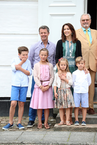 Royal family around the world annual summer photocall for the back to front l r crown prince frederik of denmark crown princess mary of denmark prince henrik of denmark prince christian of denmark sciox Image collections