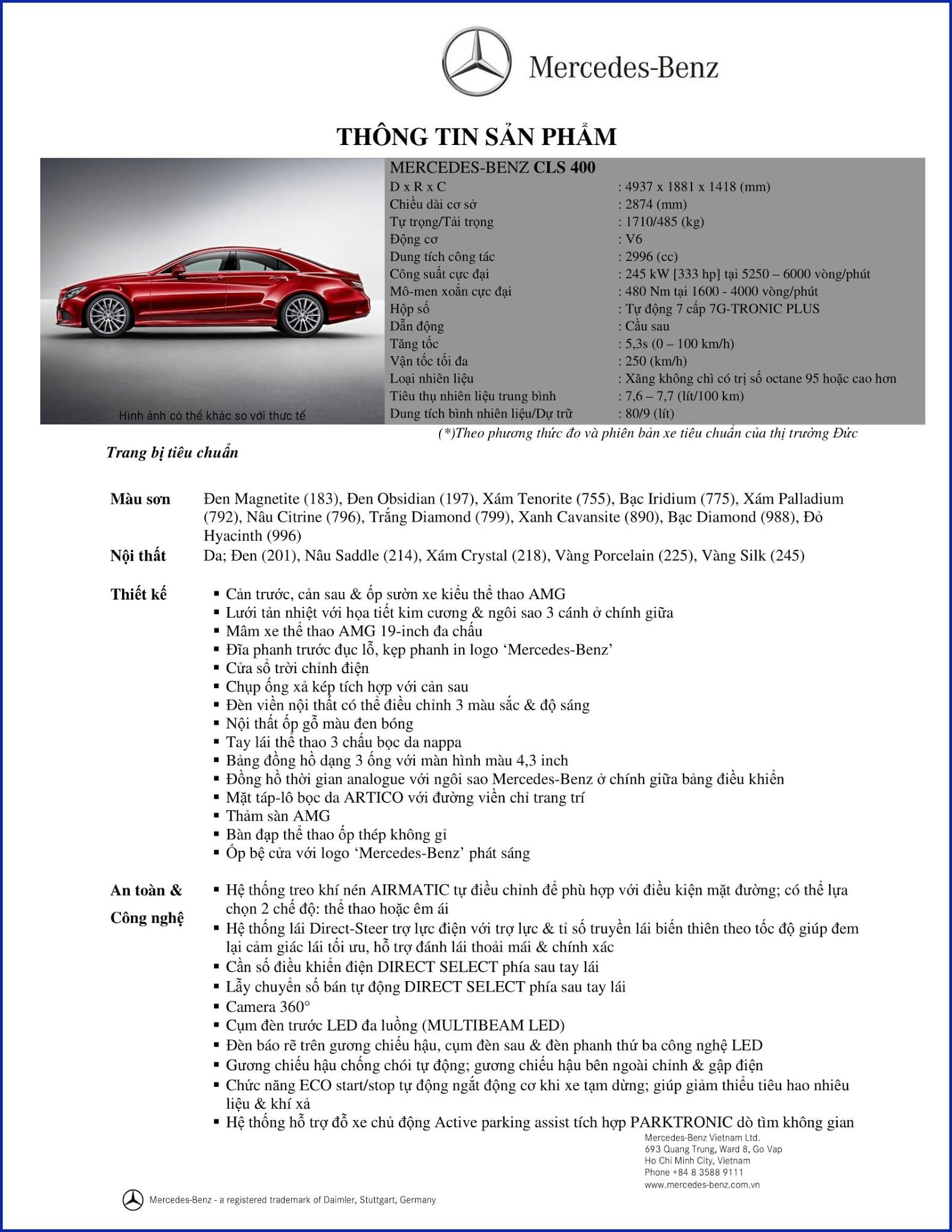 Bảng thông số kỹ thuật Mercedes CLS 400 2019 tại Mercedes Trường Chinh