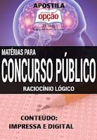 apostila Raciocínio Lógico conteúdo especifico impressa e digital para concurso público 2016