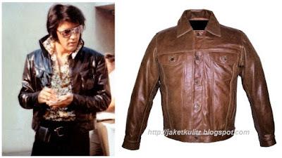 Gambar jaket Kulit Retro Denim Style Elvis Presley Warna Coklat