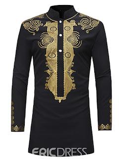 Dashiki Men's Stand Collar Mid-Length Slim Fit Shirt