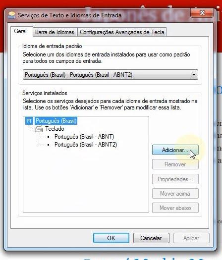 Caixa de diálogo Serviços de Texto e Idiomas de Entrada no Windows 7.