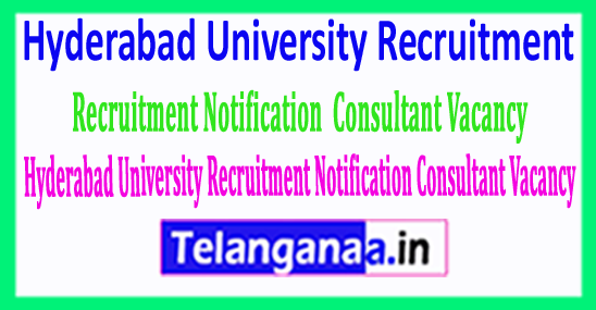 Hyderabad University Recruitment Notification 07 Consultant Vacancy – Last Date 10 June 2018