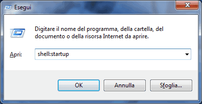 Windows, finestra di dialogo Esegui con comando shell_startup