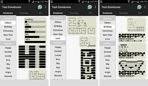يوفر تطبيق Text Emoticons العديد من  نصوص الرسوم التعبيرية