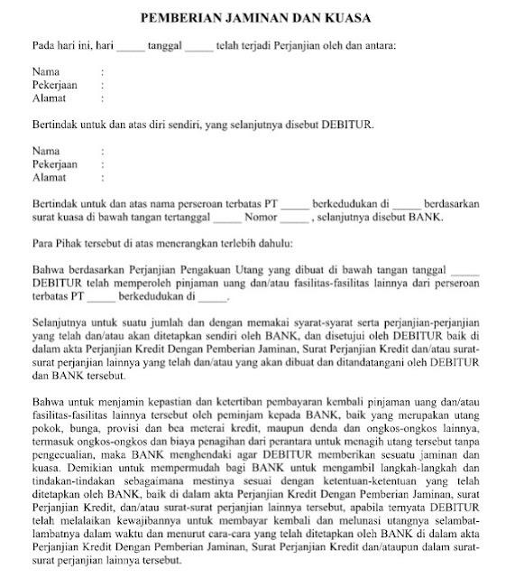 Contoh Surat Perjanjian Pemberian Jaminan Dan Kuasa yang Resmi Format Word