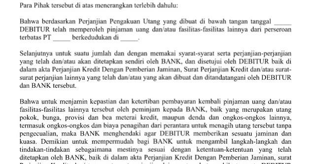 contoh surat kuasa jaminan fidusia contoh buas