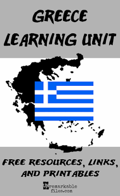 Looking for around the world educational activities? Want to teach your kids or students about the country of Greece? This post is a one-stop shop for free activities, crafts, printables, book lists, and recipes to build the perfect geography lesson plan or Greece unit study. Try Greek food, learn the language, and more. #greece #aroundtheworld #educationalactivities #geography #lessonplan #homeschool #unremarkablefiles