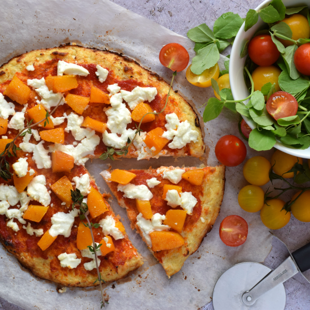 Cauliflower Crust Pizza with Butternut Squash and Goats' Cheese