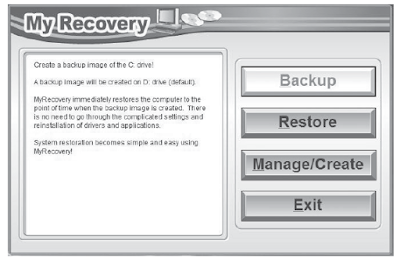 MyRecovery screen