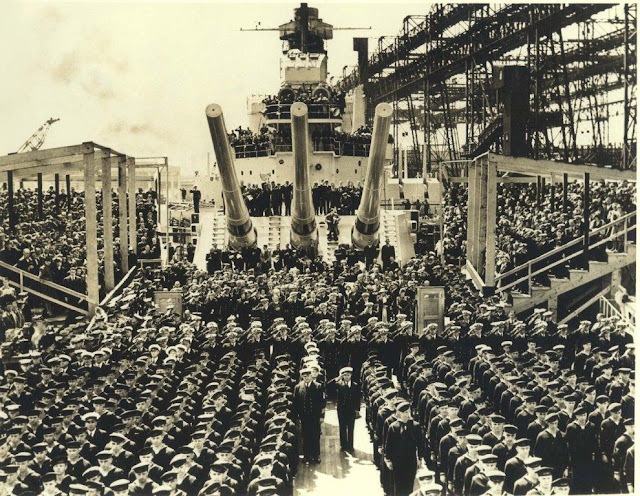 9 April 1941 worldwartwo.filminspector.com USS North Carolina commissioning Brooklyn Navy Yard