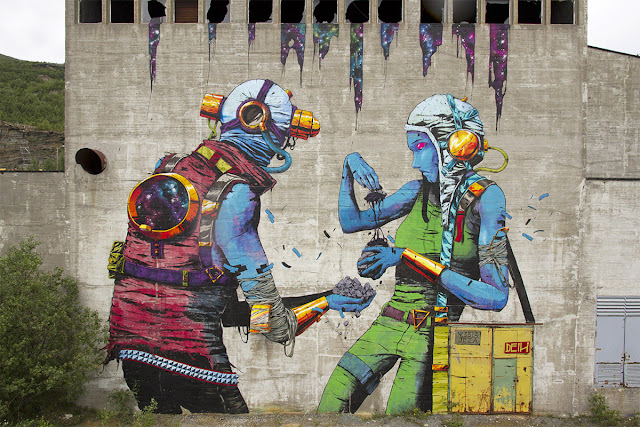 Along with Borondo and several other artists, Deih was also part of this year's lineup for the UpNorth Festival which took place on the streets of Sulitjelma, a small town located in Northern Norway.