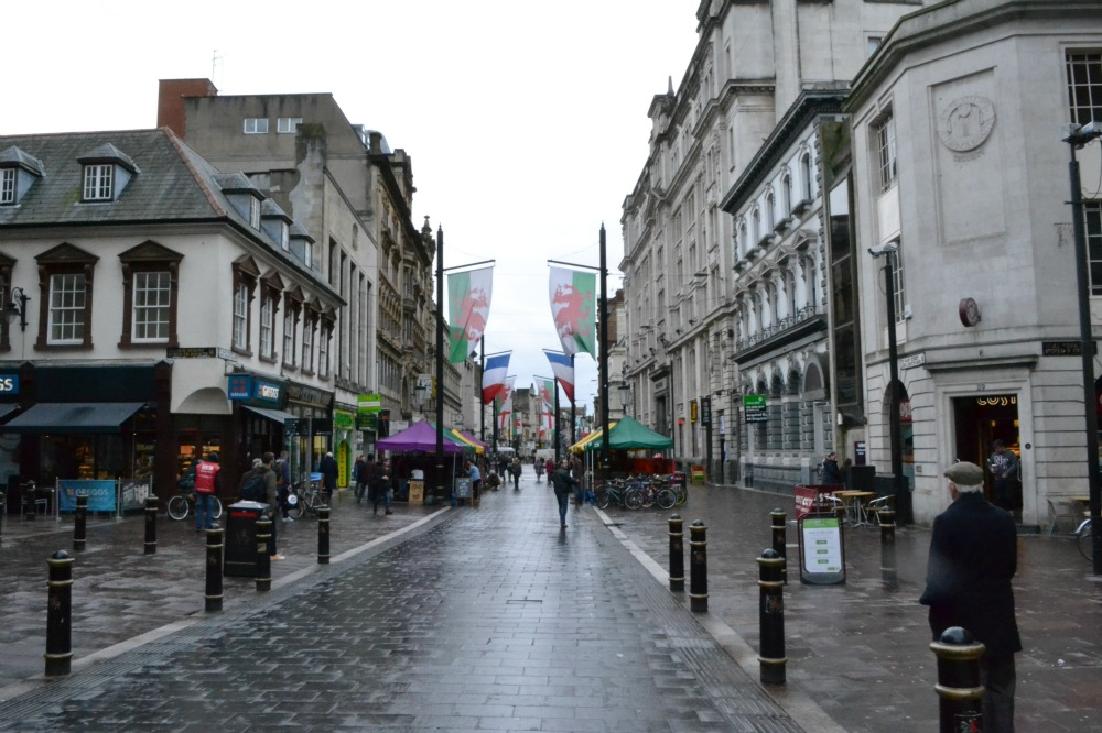 cardiff city centre flags