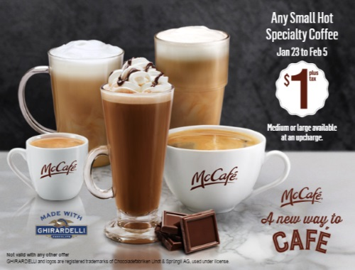 McDonalds $1 Small Hot Specialty Beverages