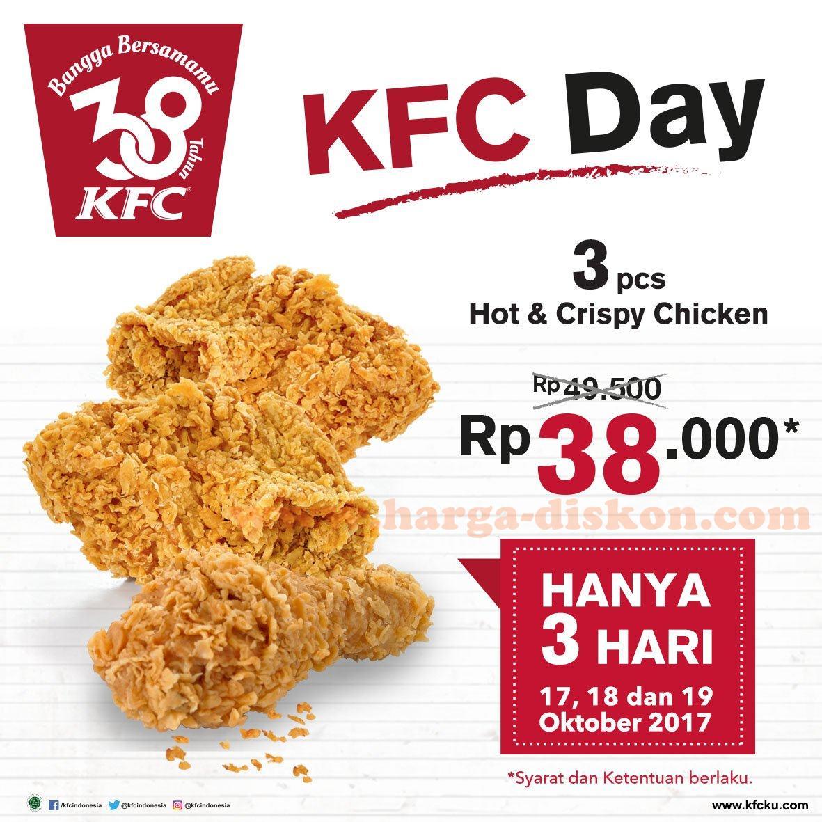 Promo Kfc Terbaru 3 Hot Crispy Chicken Rp38 000 Periode 17 19 Oktober 2017 Harga Diskon