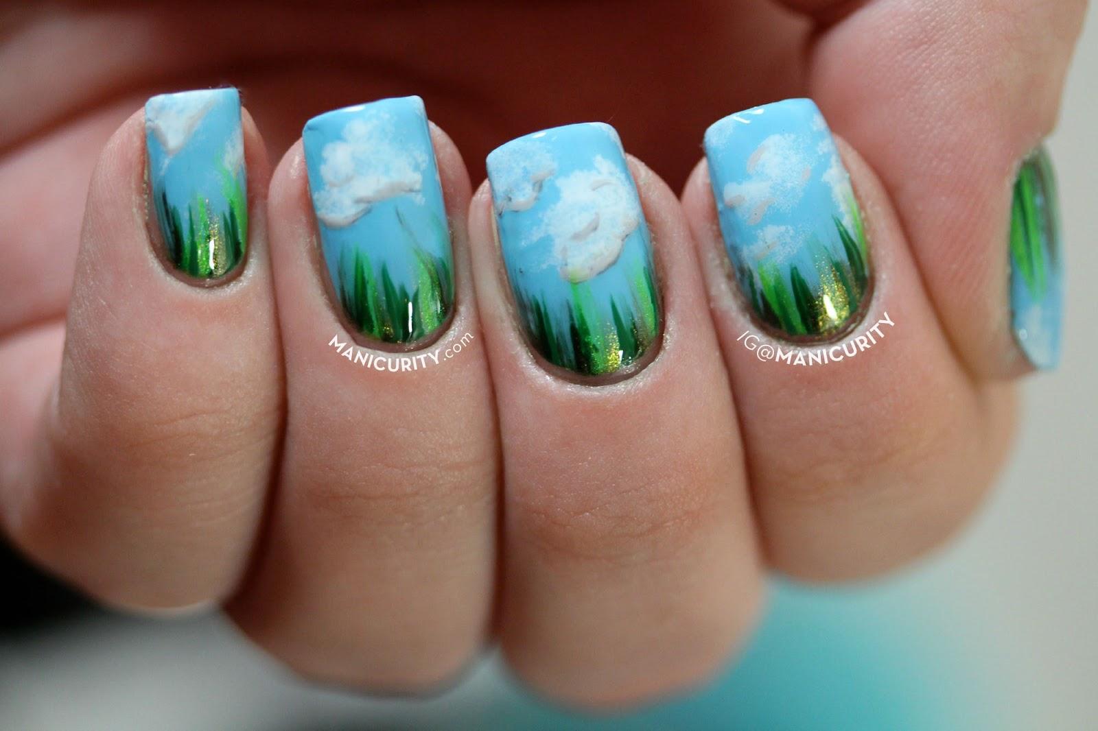Grassy Waterfall Nail Art