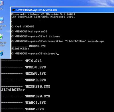 La cadena se encuentra en los drivers MRXSMB de Windows XP y 8, por ejemplo