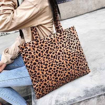 Plush Leopard Print Simple Large Capacity Single Shoulder Cross Female Bag