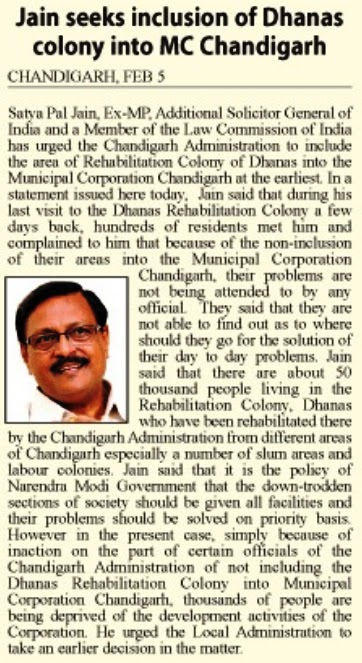 Jain seeks inclusion of Dhanas colony into MC Chandigarh