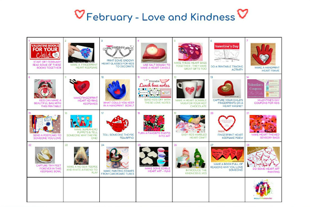 February kids activity calendar.  Art craft and activity ideas for kids based on the theme love and kindness.
