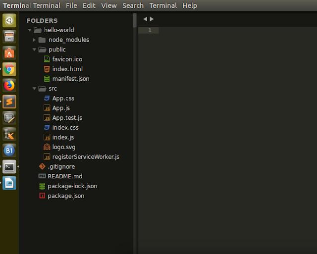 berikut adalah tampilan Folder pada aplikasi React