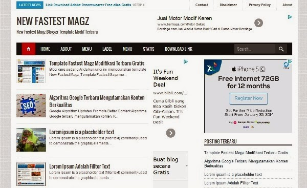 new fastest magz blogger templlate