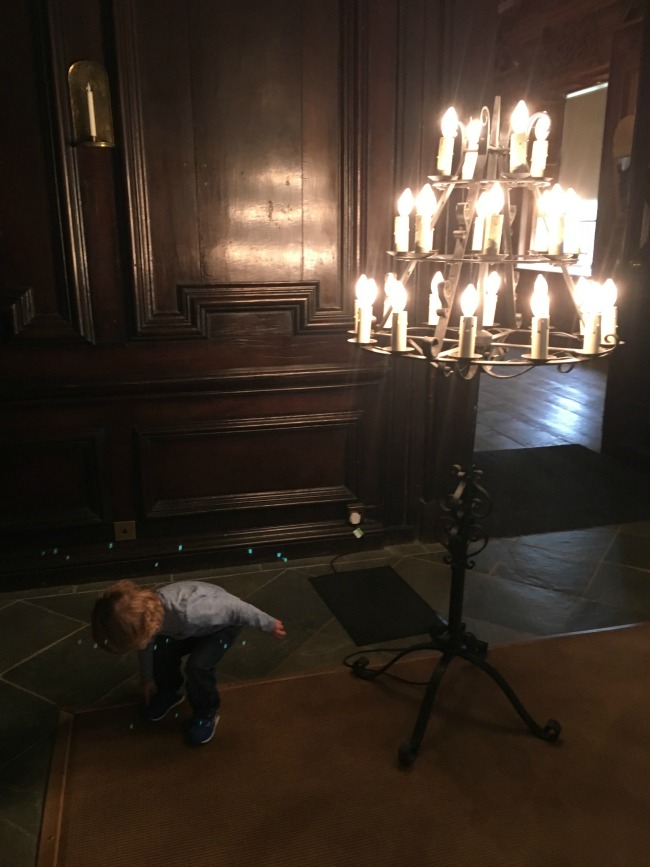 Tredegar-House-entrance-hall-with-toddler-and-lamp-stand-with-bulbs-like-candles
