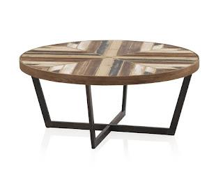 mesa baja de centro industrial madera forja