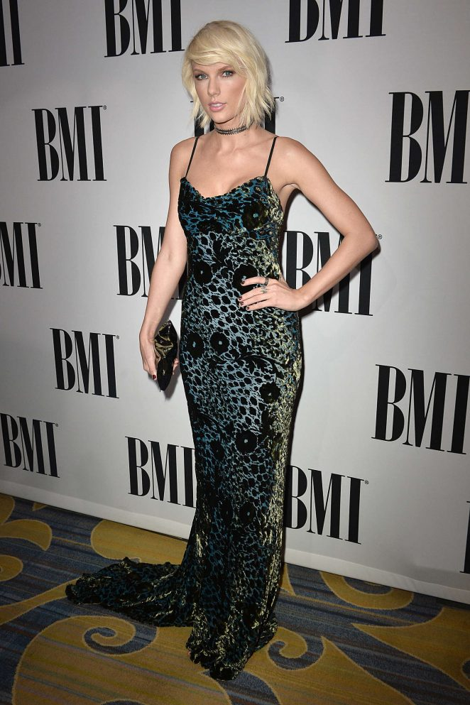Taylor Swift bares cleavage at the BMI Pop Awards in Beverly Hills
