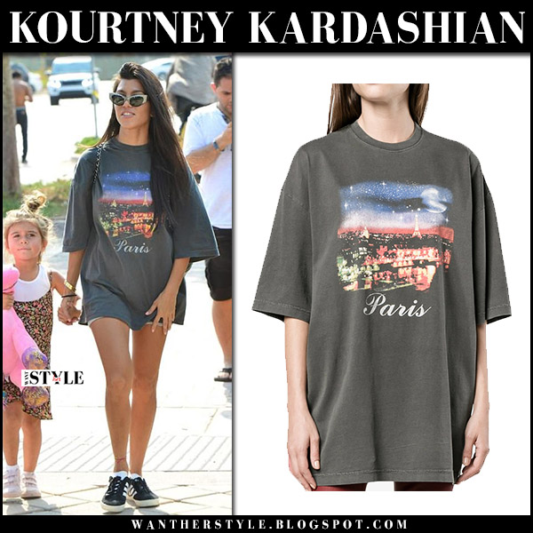 Kourtney Kardashian in grey Paris print balenciaga tee in Malibu september 3 2017