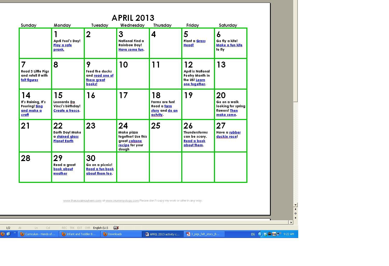Free April Kids Activity Calendar