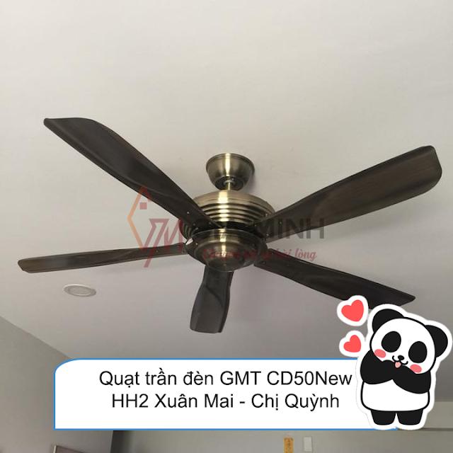 Hình ảnh thi công thực tế quạt trần đèn GMT CD50 New tại nhà chị Quỳnh - HH2 Xuân Mai