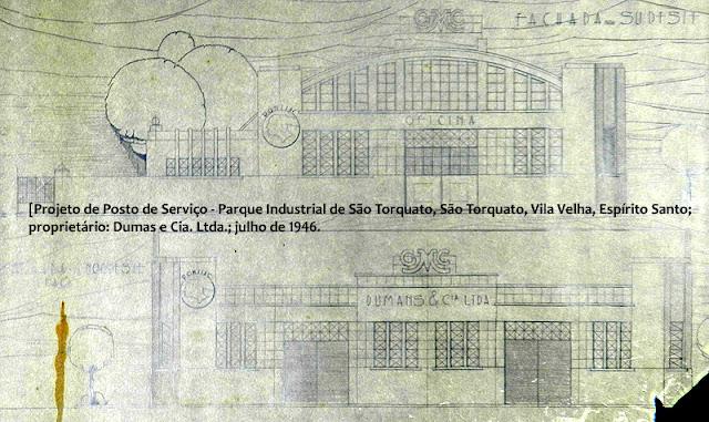 ID 542 - Projeto de Posto de Serviço, Parque Industrial de São Torquato, São Torquato, Vila Velha, Espírito Santo, proprietário Dumas e Cia. Ltda., julho de 1946.