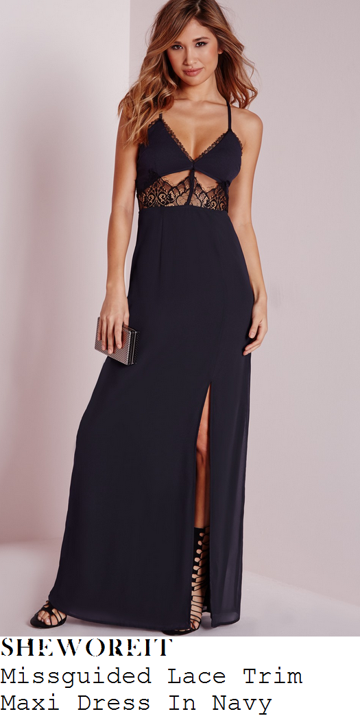 kate-wright-navy-blue-black-lace-trim-panel-detail-sleeveless-thigh-split-maxi-dress-towie-gran-canaria