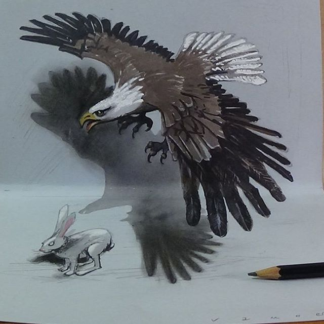 07-Eagle-Vámos-Sándor-3D-Art-and-Optical-Illusions-Drawings-and-Videos-www-designstack-co