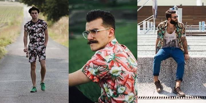 Três fotos de homens com alguns tipos de camisa floral masculina