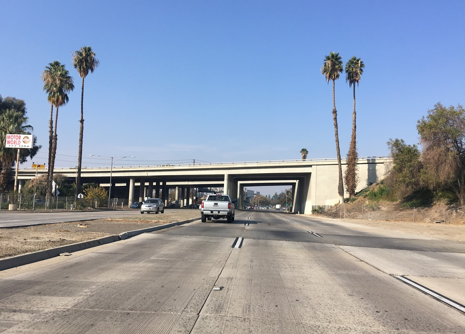 ca 204 northbound on golden state boulevard crosses under the ca 178 freeway
