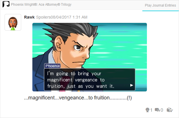 Phoenix Wright Ace Attorney Trials and Tribulations magnificent vengeance to fruition