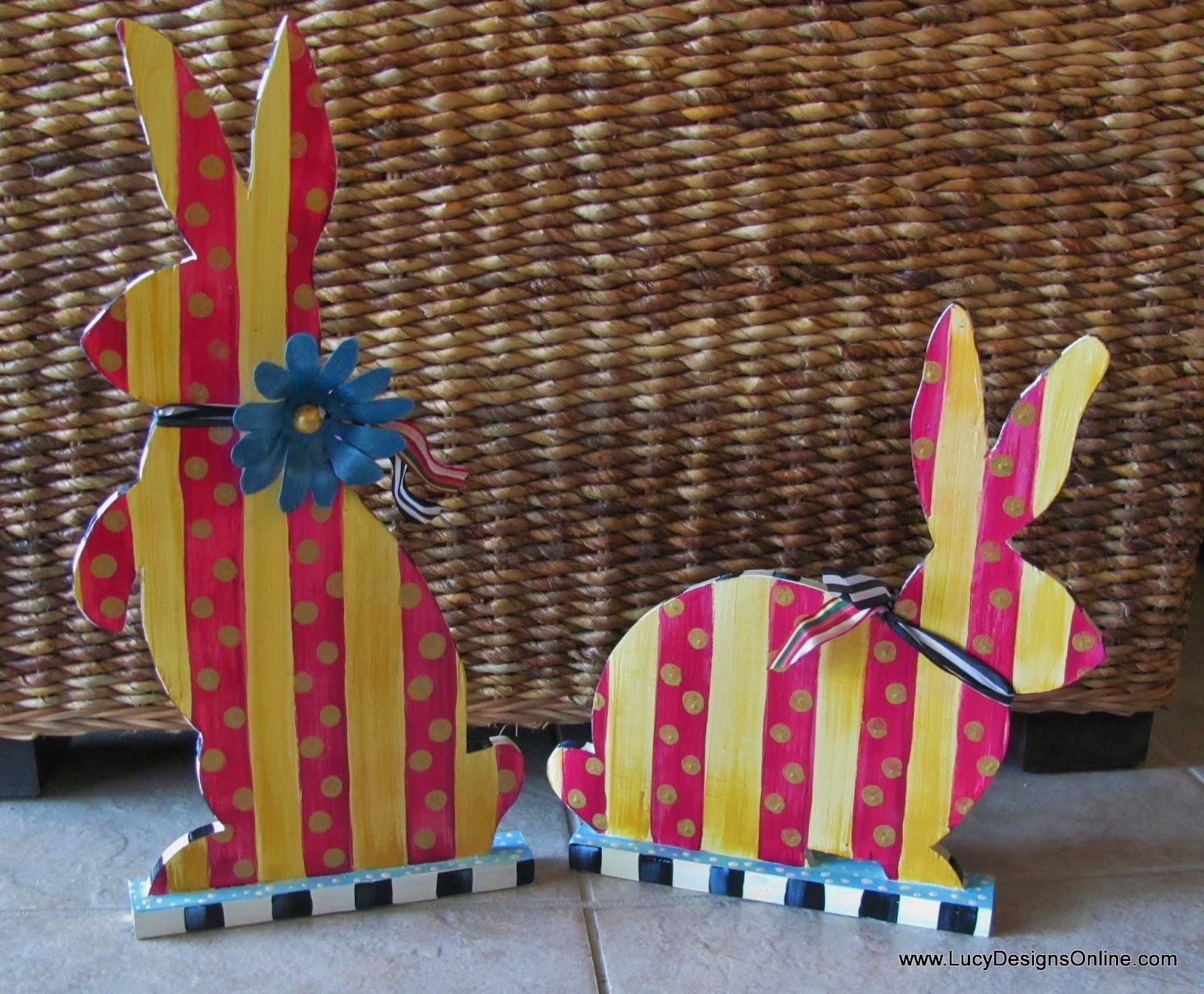hand painted striped bunny rabbit