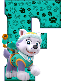 Alfabeto de Everest de Paw Patrol. Alphabet with Everest of Paw Patrol.