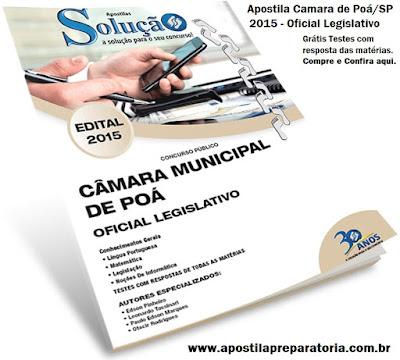 Apostila concurso Câmara de Poá 2015 Oficial Legislativo, Grátis pdf.