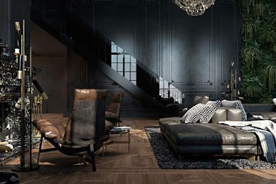 чёрные стены и кожаный диван лестница