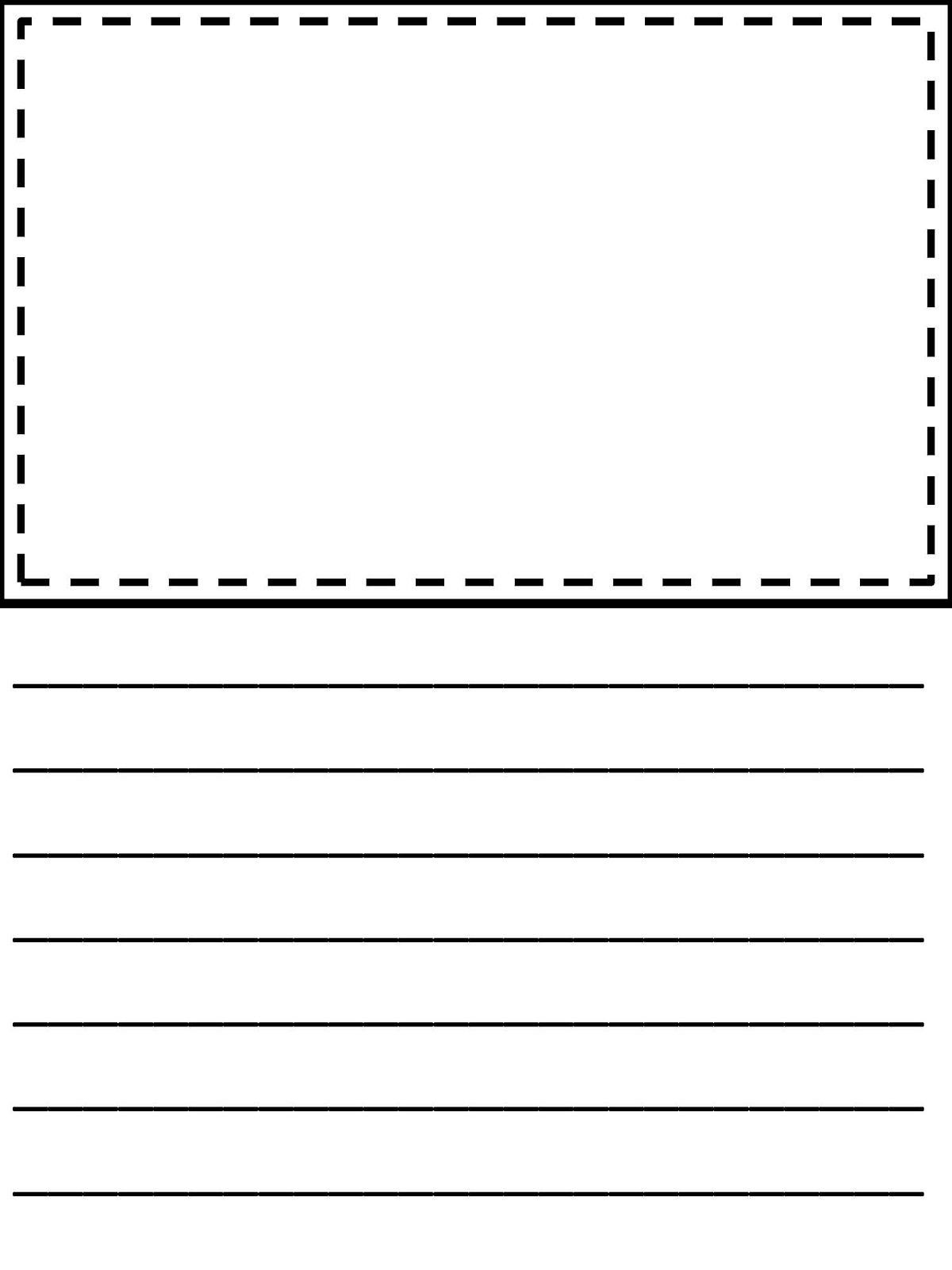 Writing Paper With Room For Drawings Page Abcteach K Reader  Handwriting Paper Printable Free