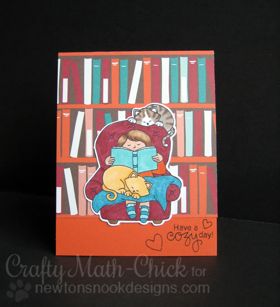 Cozy Day Reading with Cats Card by Crafty Math-Chick | A Cozy Day In Stamp set by Newton's Nook Designs #newtonsnook